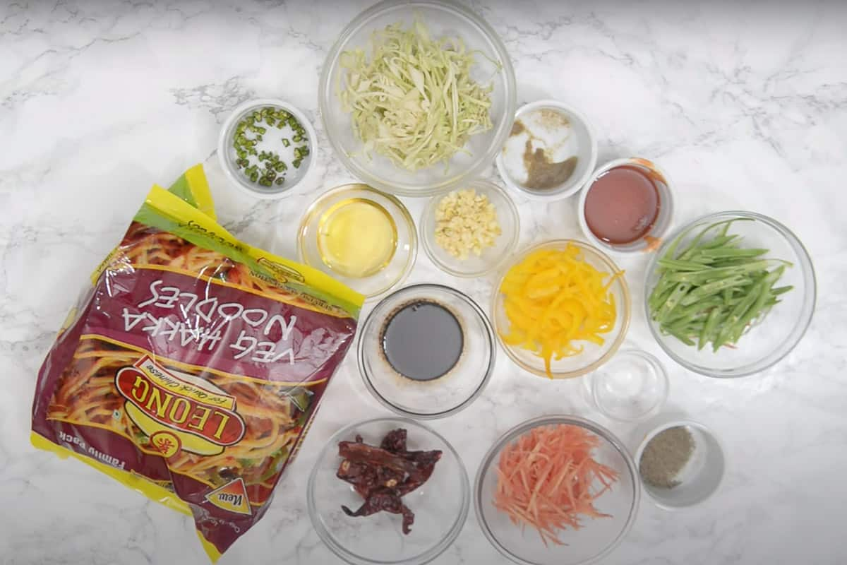 Chilli Garlic Noodles Ingredients.
