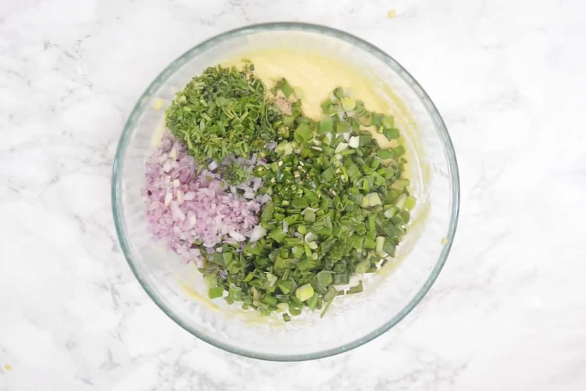 Remaining ingredients added in coarse moong dal.