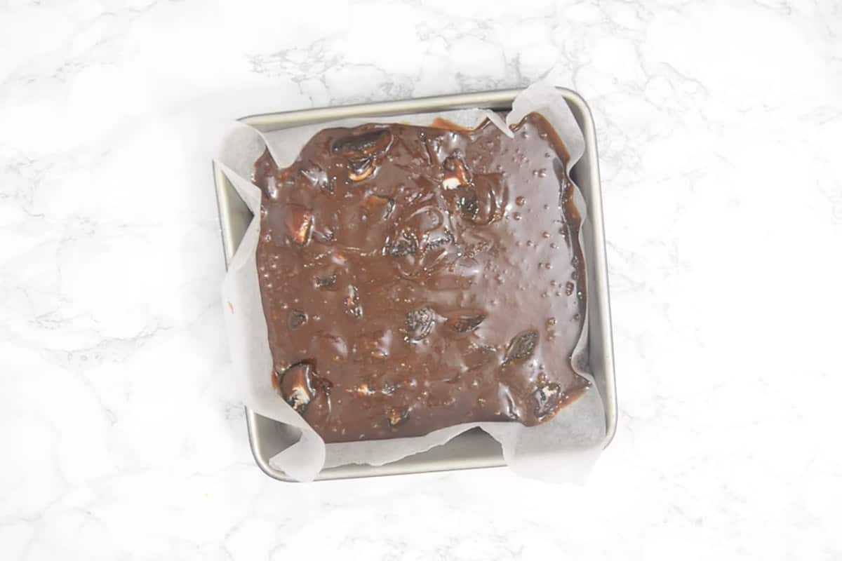 Brownies mixture in a baking tray