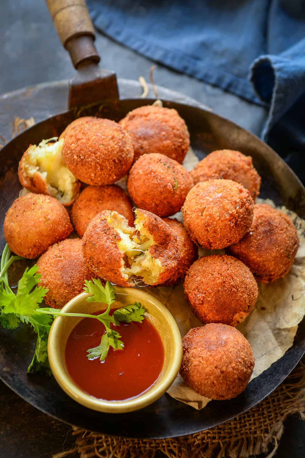 Potato Cheese Balls served on a plate.