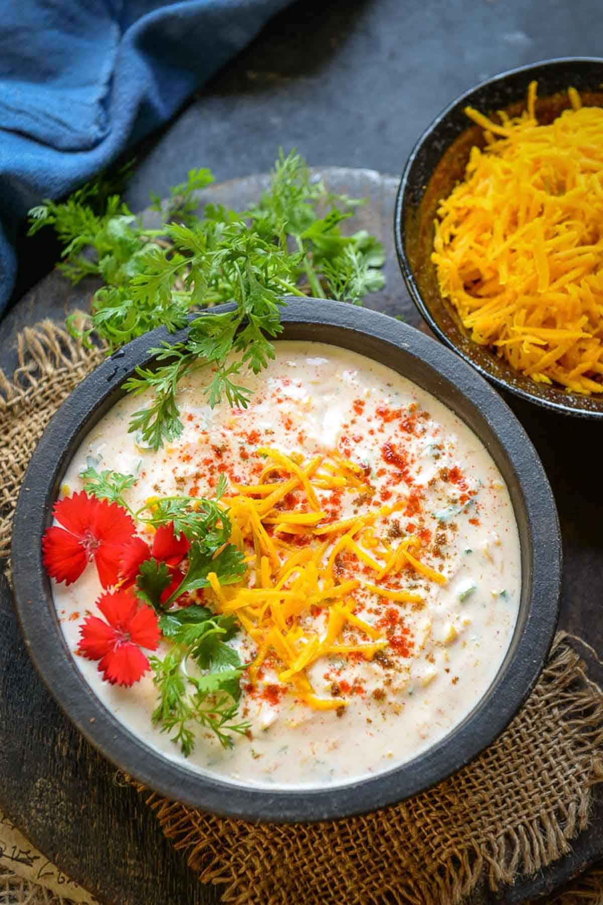 Kaddu ka Raita served in a bowl.
