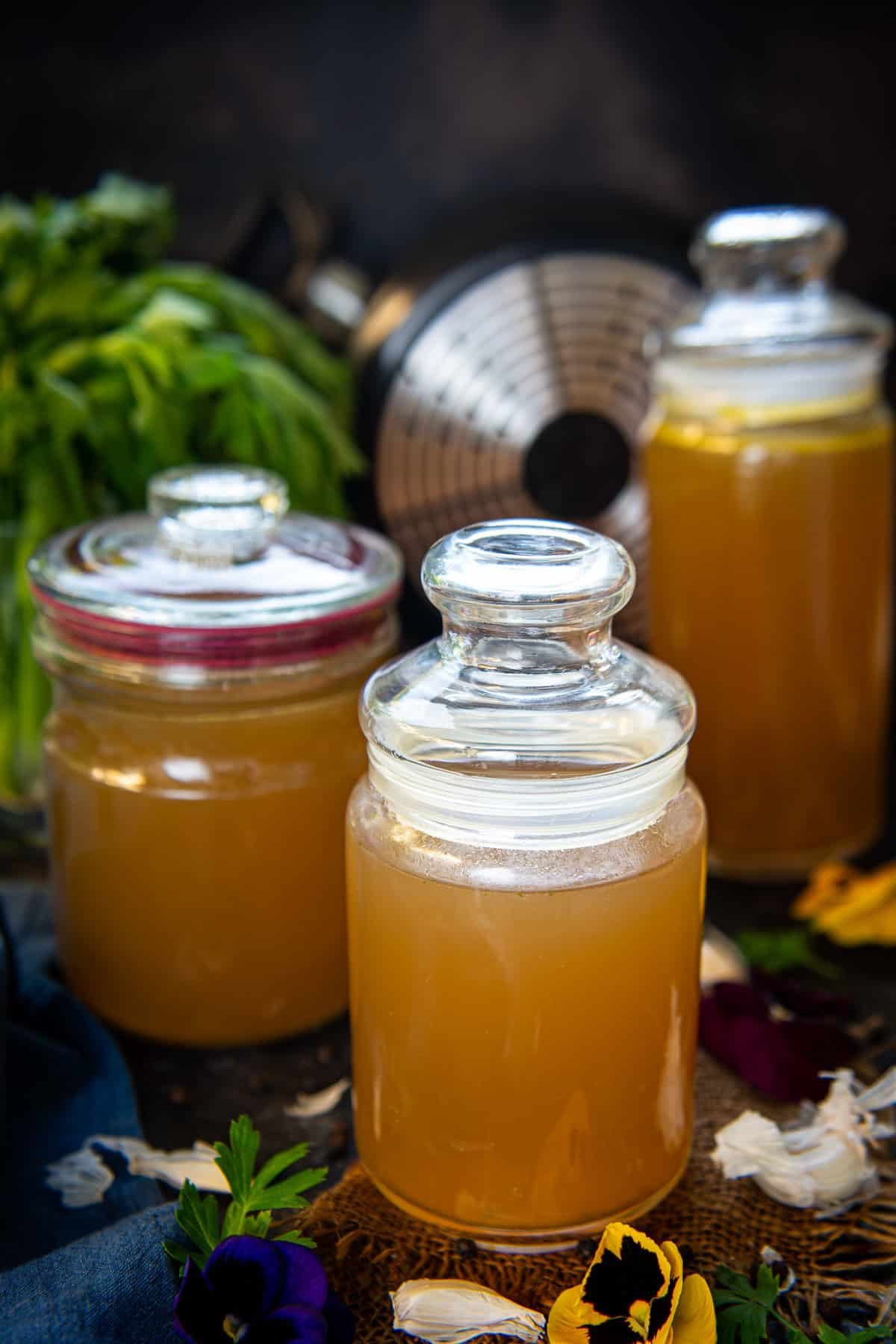 Vegetable Stock kept in glass jars.
