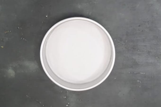Greased and lined cake pan.