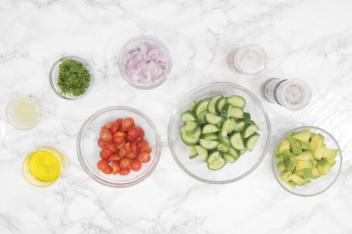 Cucumber Avocado Salad Ingredients.