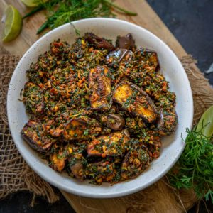 Baingan Methi is a delicious everyday Indian sabji made using eggplant and fenugreek leaves. It's easy to make and tastes delicious. Here is how to make it.