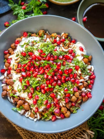 Chana Chaat is a delicious tangy snack that is made using boiled black chickpeas. It is healthy and a great source of vegetarian protein. Here is how to make it.