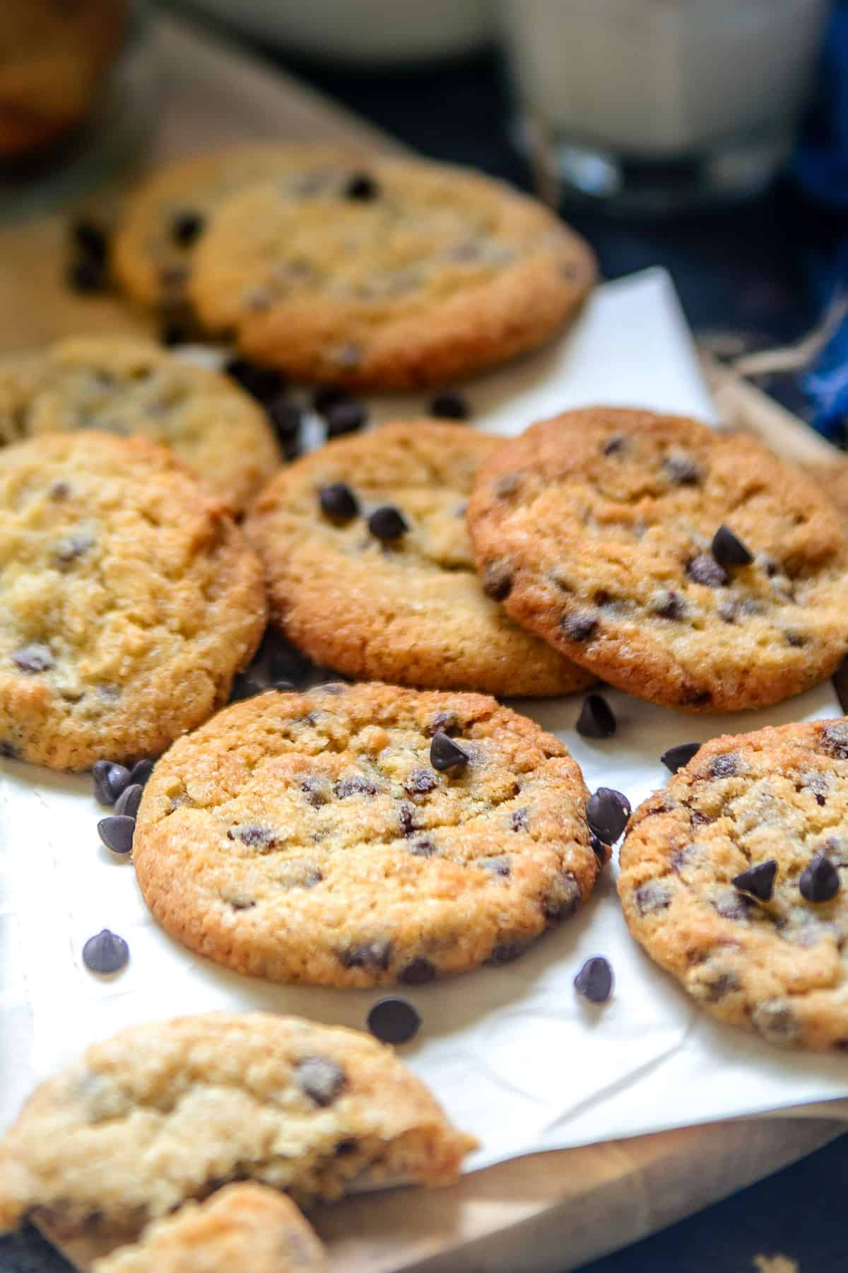 Chocolate Chip Cookies lying on the table.