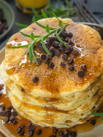These easy homemade chocolate chip pancakes recipe is one of the best you will come across. Fluffy, thick, super delicious to eat, these are almost regular at my home.