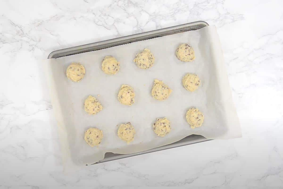 Dough scooped in the tray.