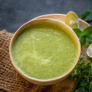 Dahi Chutney or Yogurt Mint Dip is a spicy green Indian condiment that goes very well with any snack or appetizer. It is easy to make and tastes delicious. Here is how to make it.
