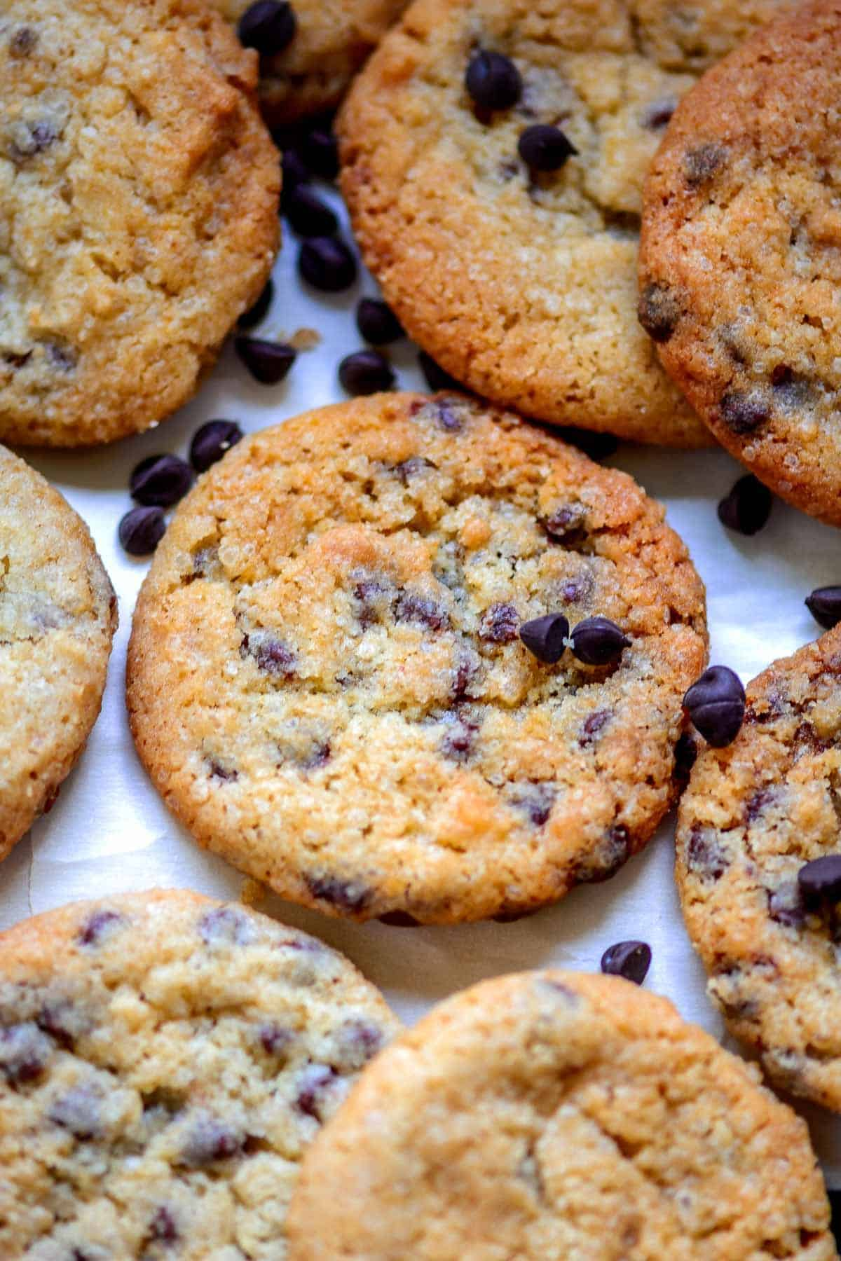 Eggless Chocolate Chip Cookies served on a plate.