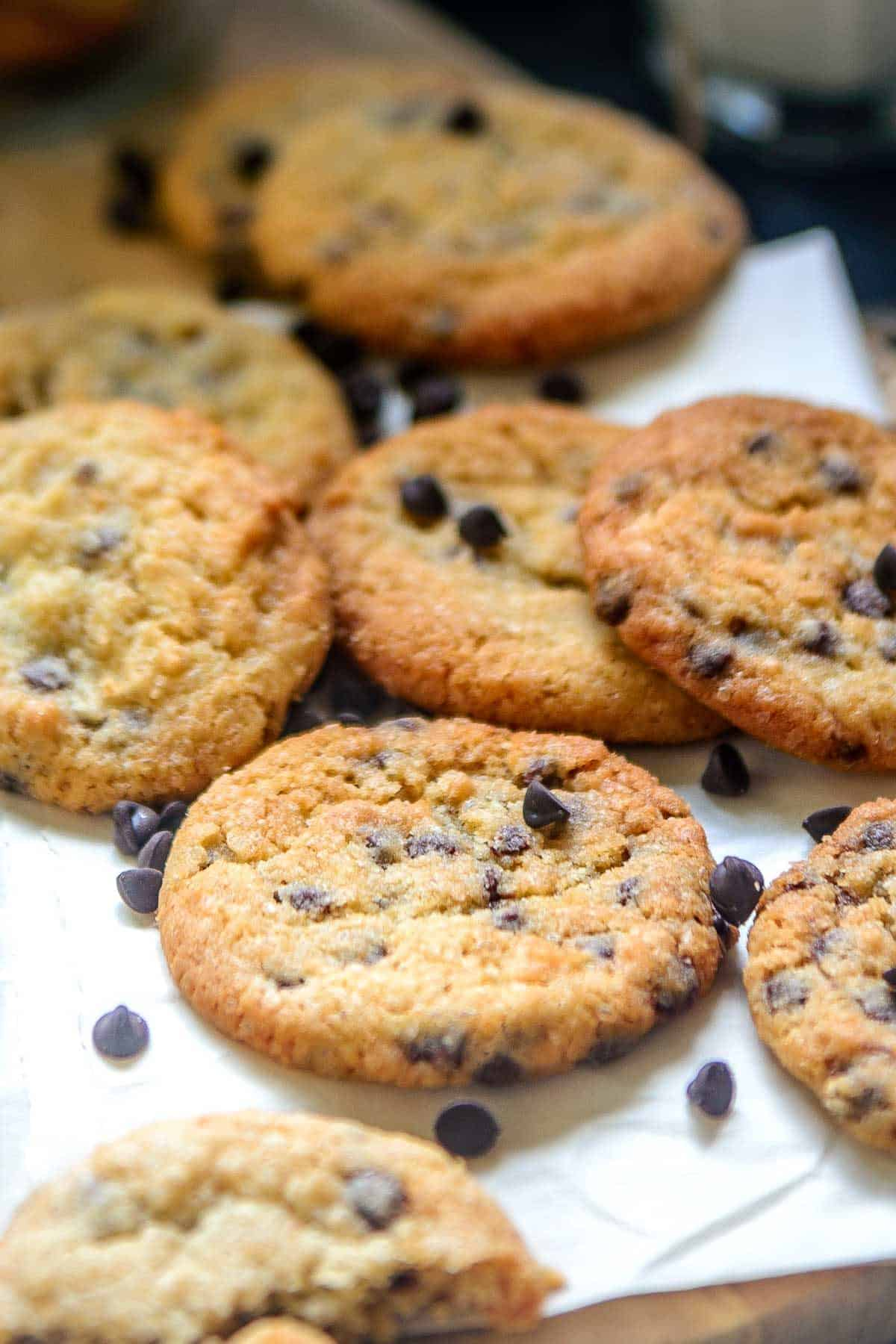 Close up shot of eggless chocolate chip cookies.