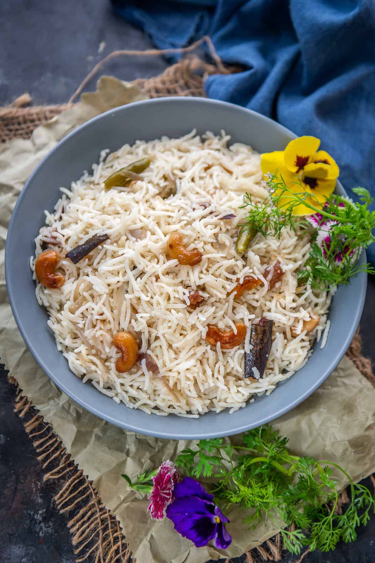 Ghee rice served in a  bowl.