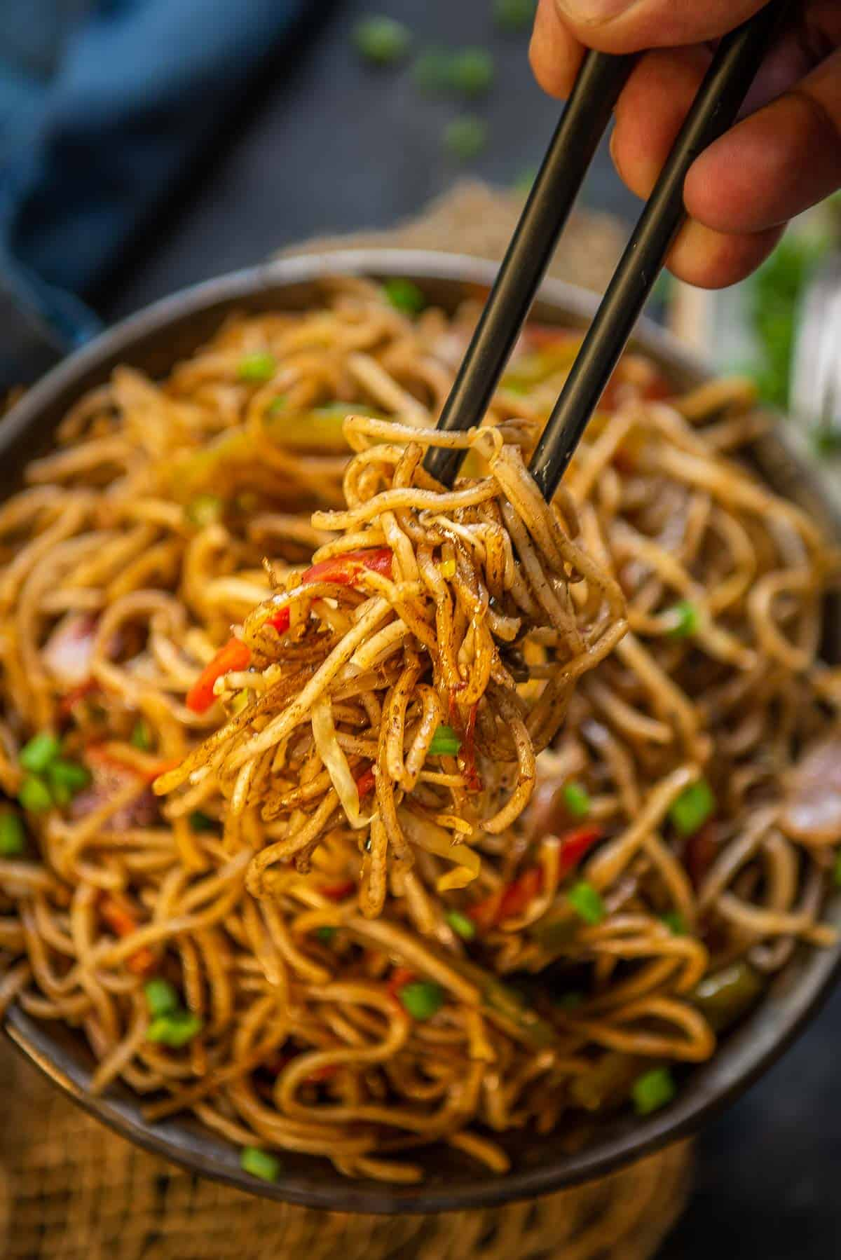 Close up shot of hakka noodles.