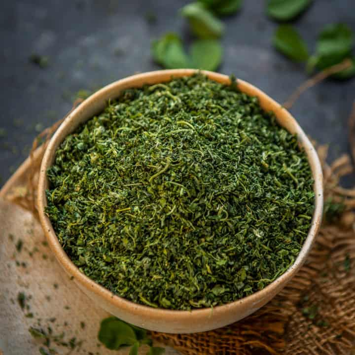 Dried Fenugreek Leaves or Kasuri Methi is an important herb in Indian cooking. Learn how to dry fenugreek leaves at home in this post.