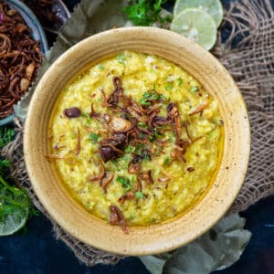 This comforting Moong Dal Khichdi is a nutritious Indian style savory porridge made using rice and lentils. It is a very light and simple one-pot meal.