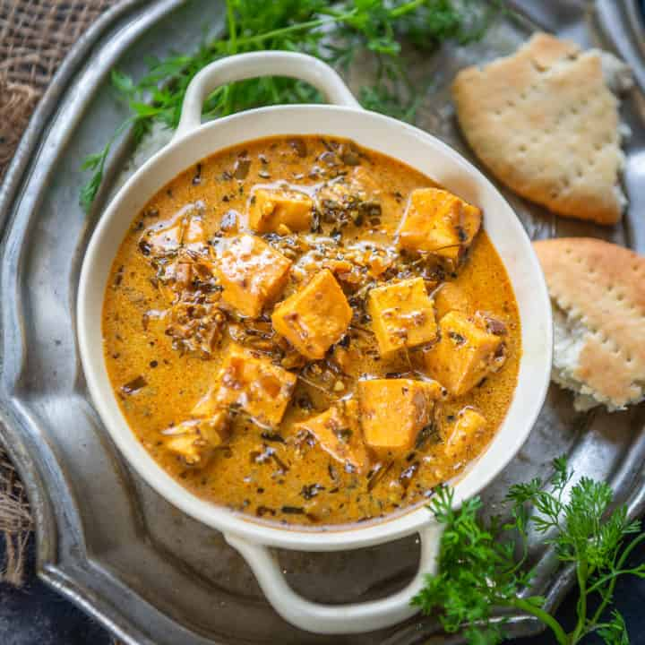 Lahsooni Methi Paneer is a delicious paneer curry where paneer cubes are cooked in a spicy gravy along with dried fenugreek leaves. Here is how to make it.