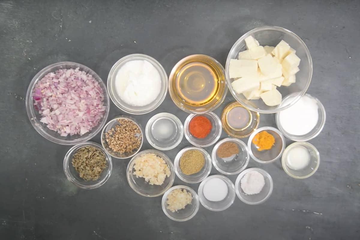 Methi Paneer ingredients.