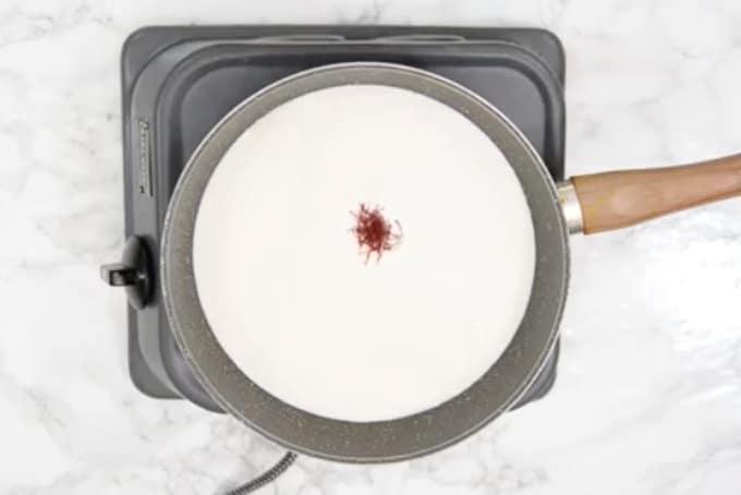 Saffron added in milk.