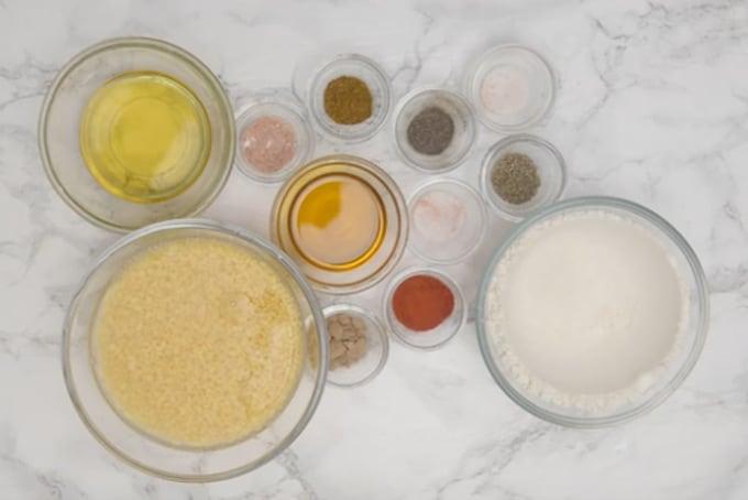 Moong dal samosa ingredients.