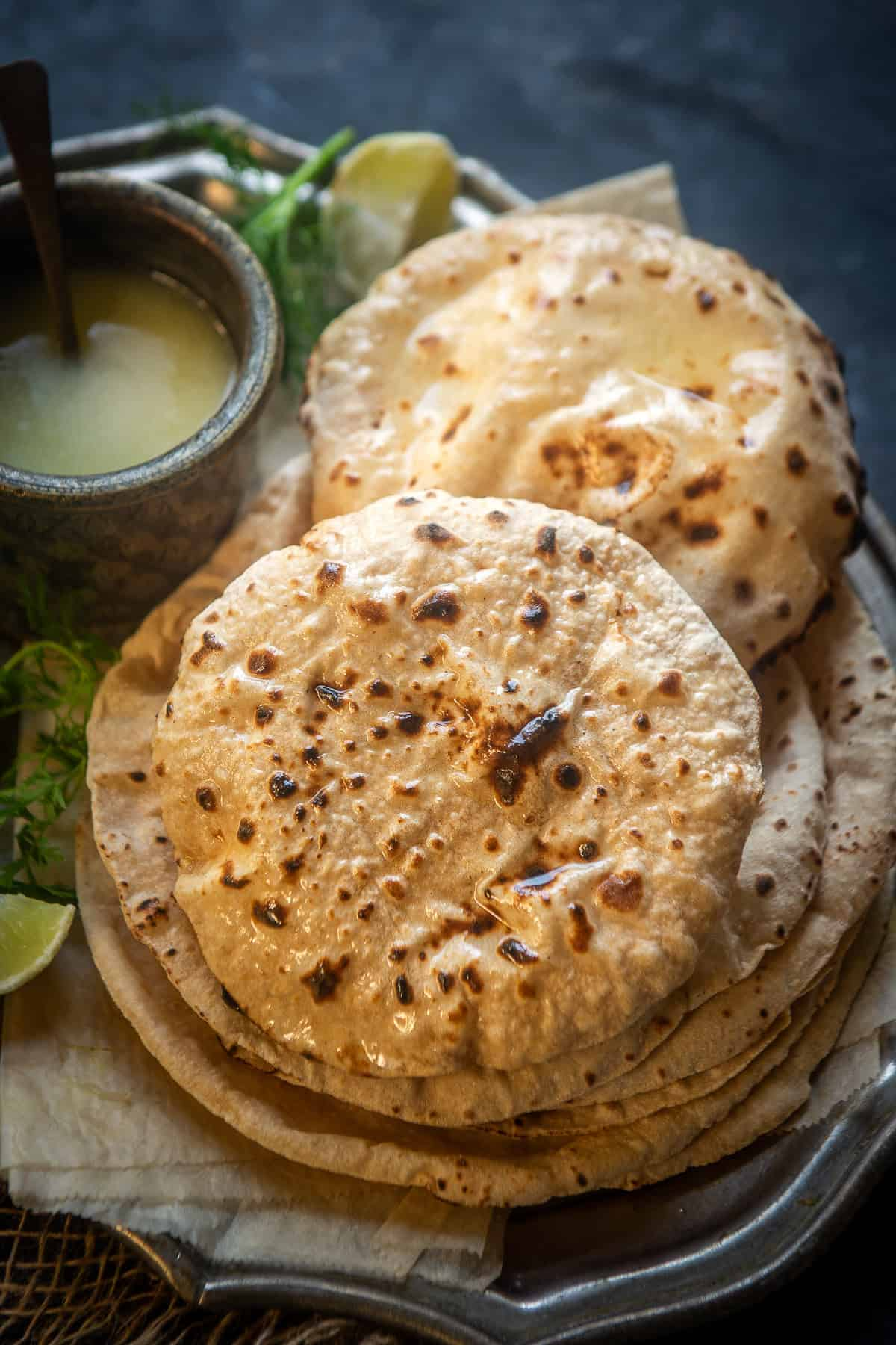 Roti served on a plate.
