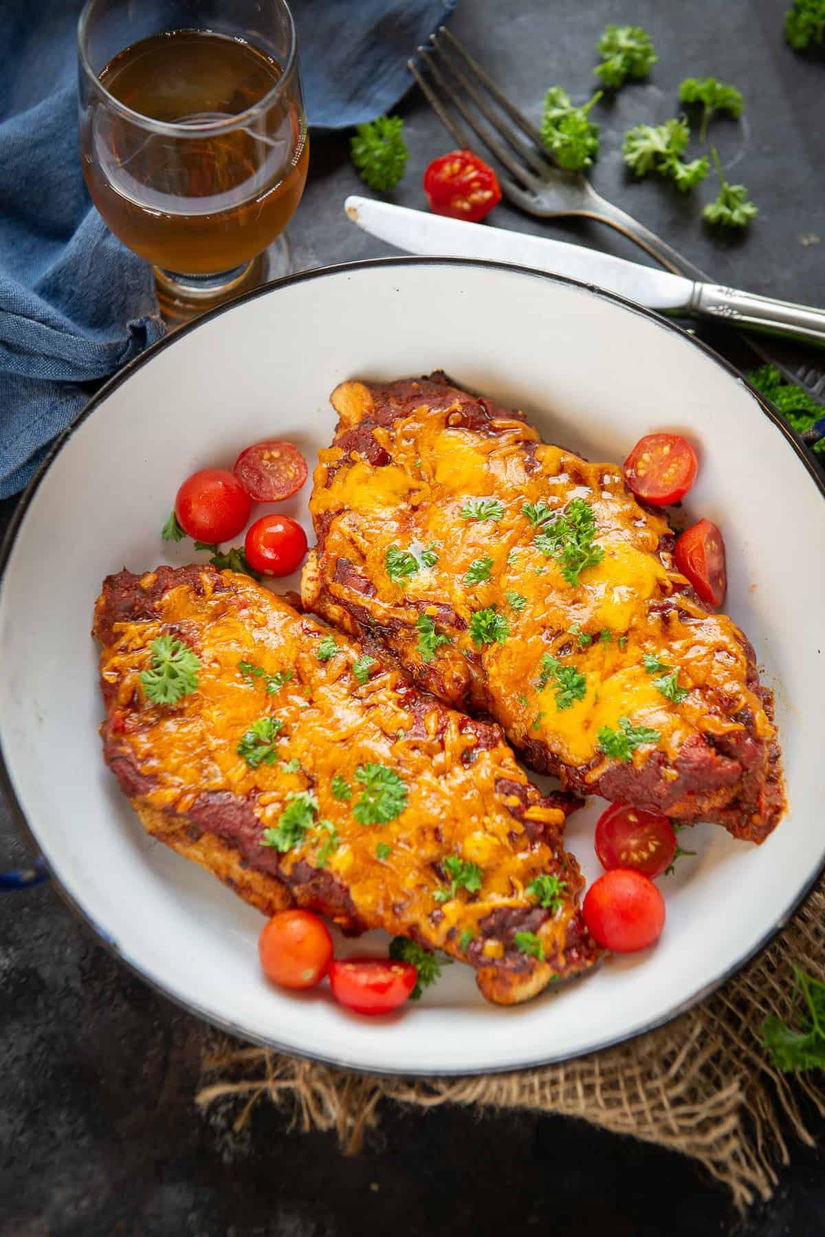 Salsa chicken served in a bowl.