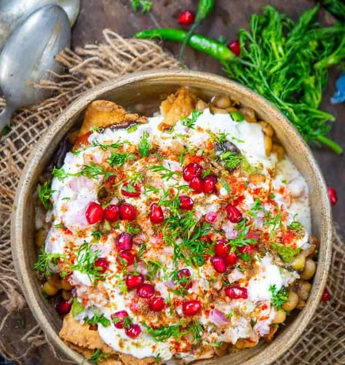Samosa Chaat served in a bowl.