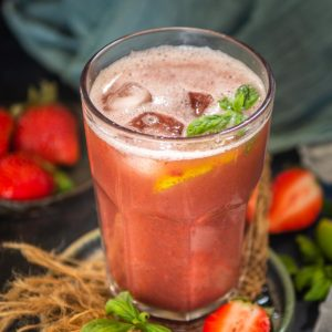 Make this easy Italian-style strawberry basil lemonade using fresh or frozen strawberries in just 15 minutes. Spike it with alcohol of your choice for an adult version.