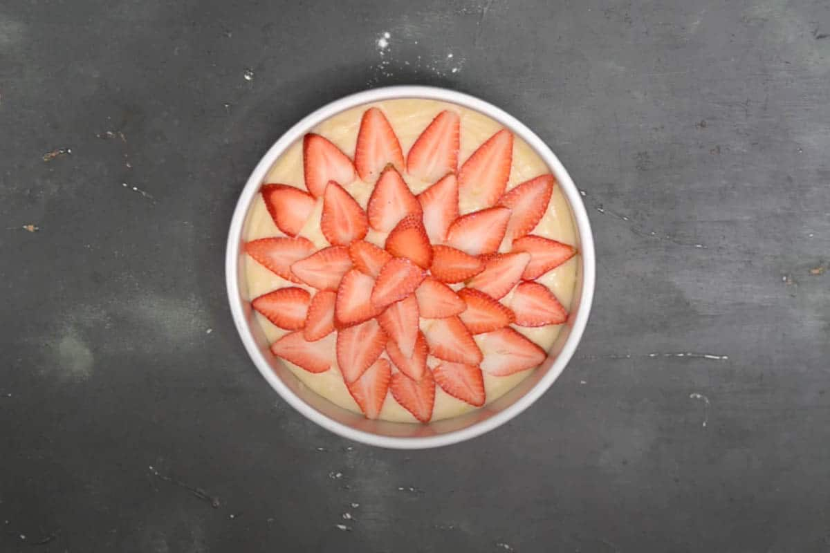 Topped with strawberry slices.