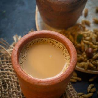 Tandoori chai served in clay pot.