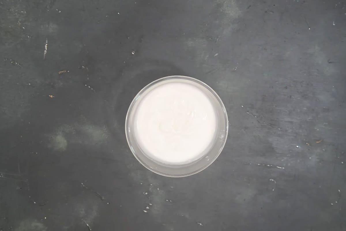 Yogurt whisked until smooth.