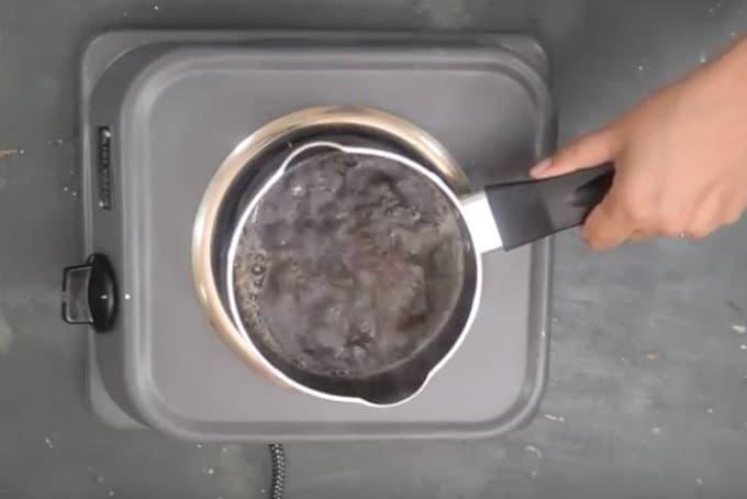 Tea leaves added in water.