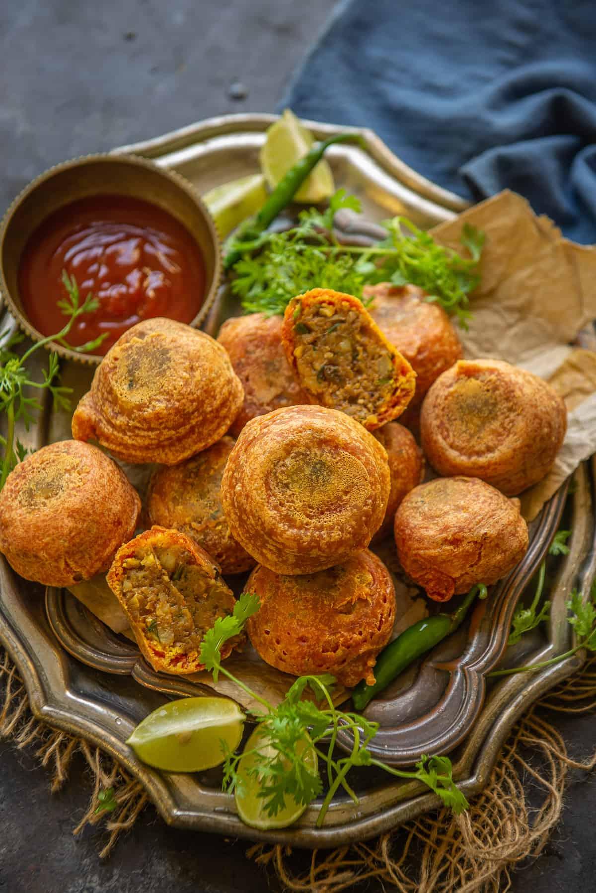 Aloo Bonda served on a  plate.
