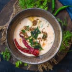 Aloo Raita or Potato Raita is a refreshing Indian accompaniment made with fresh yogurt, boiled and cubed potatoes and a few mild spices. Here is how to make it.