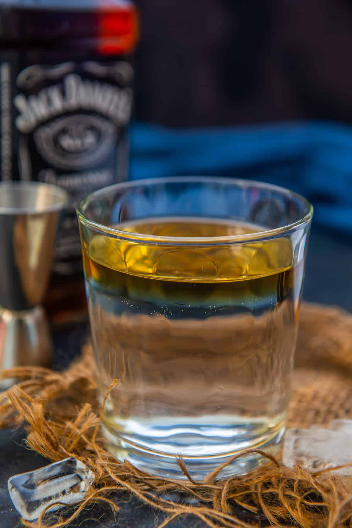 dalgona whiskey made in a glass.