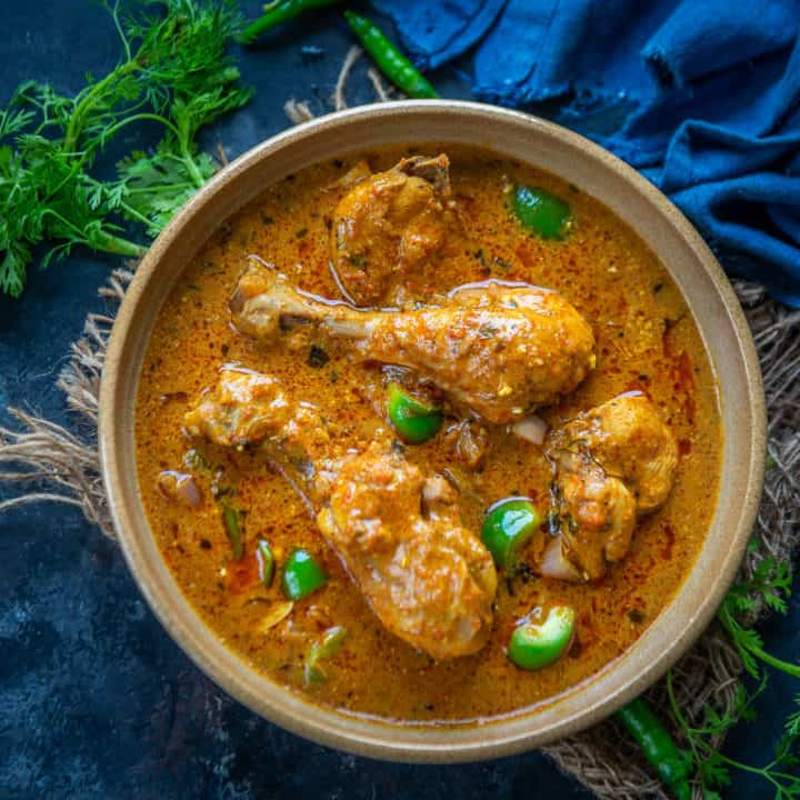 Kadai Chicken is a delicious Indian chicken curry where chicken is cooked with freshly ground spices. This spicy curry goes well with naan or any other Indian bread. Here is how to make it.