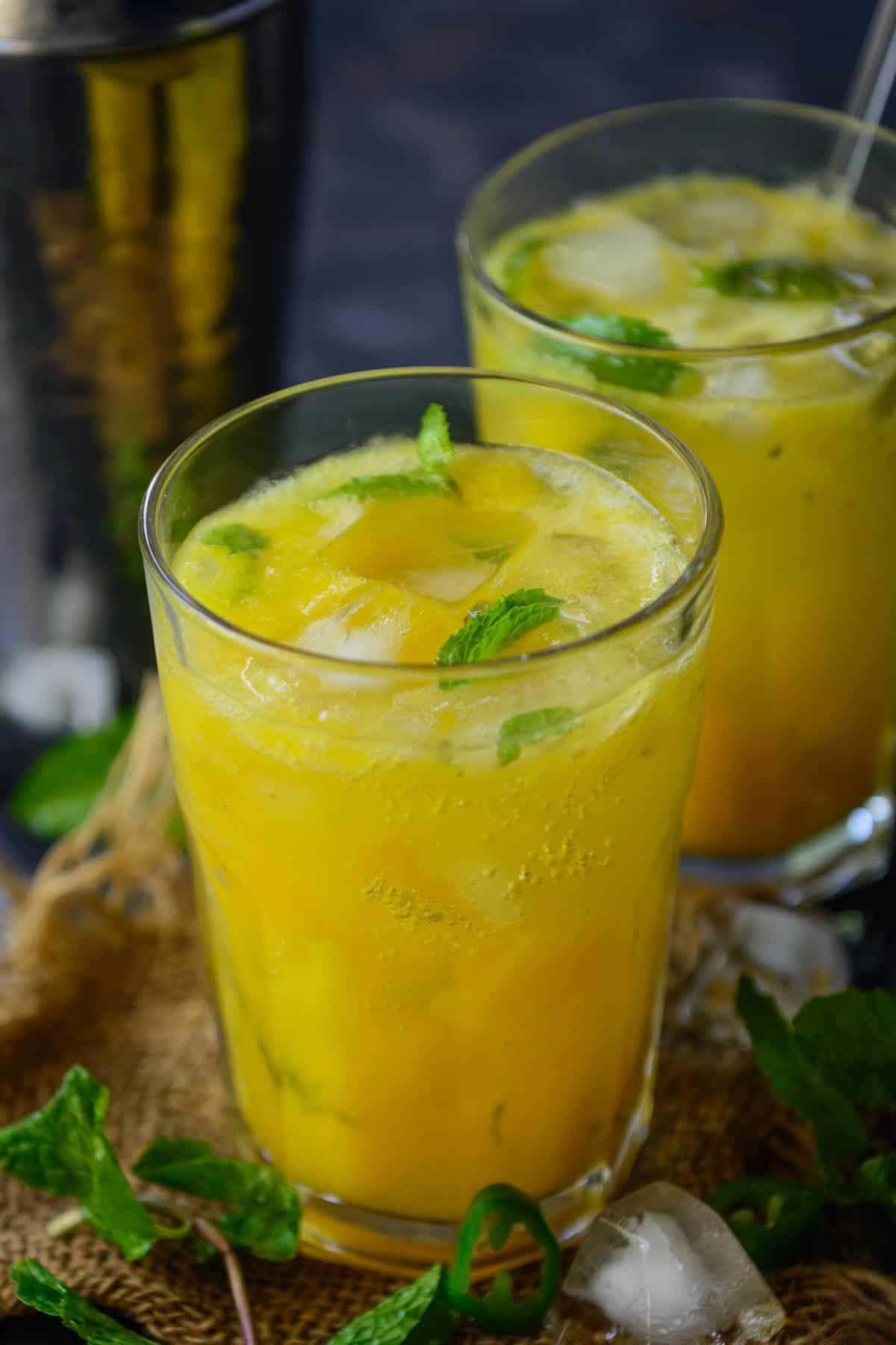 mango mojito served in a glass.