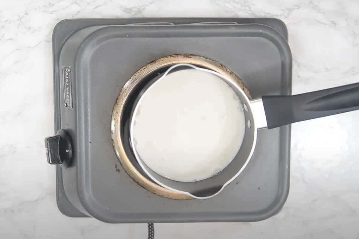 Cooking milk in a pan