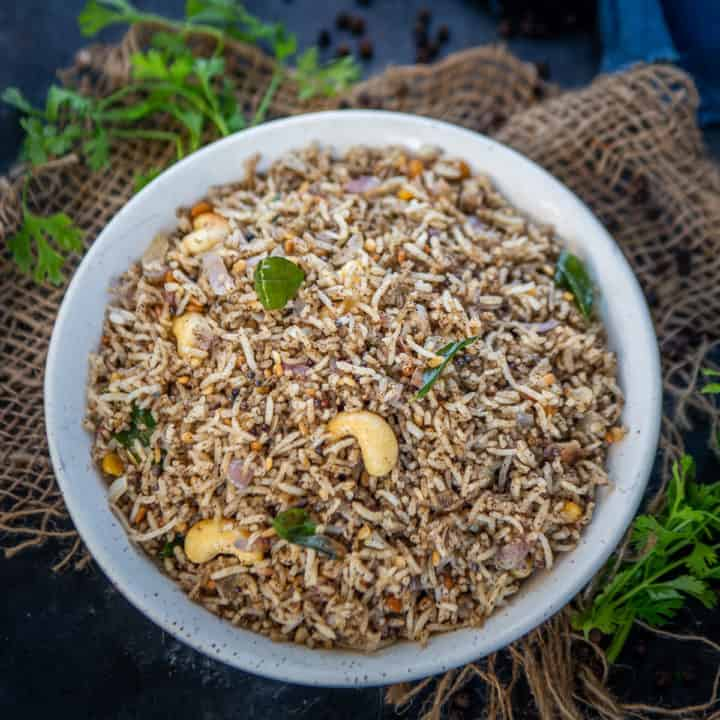 Pepper Rice or Milagu Sadam is a South Indian instant rice dish where leftover rice is cooked with lots of black pepper. This variety rice recipe is great to serve for lunch or dinner. Here is how to make it.
