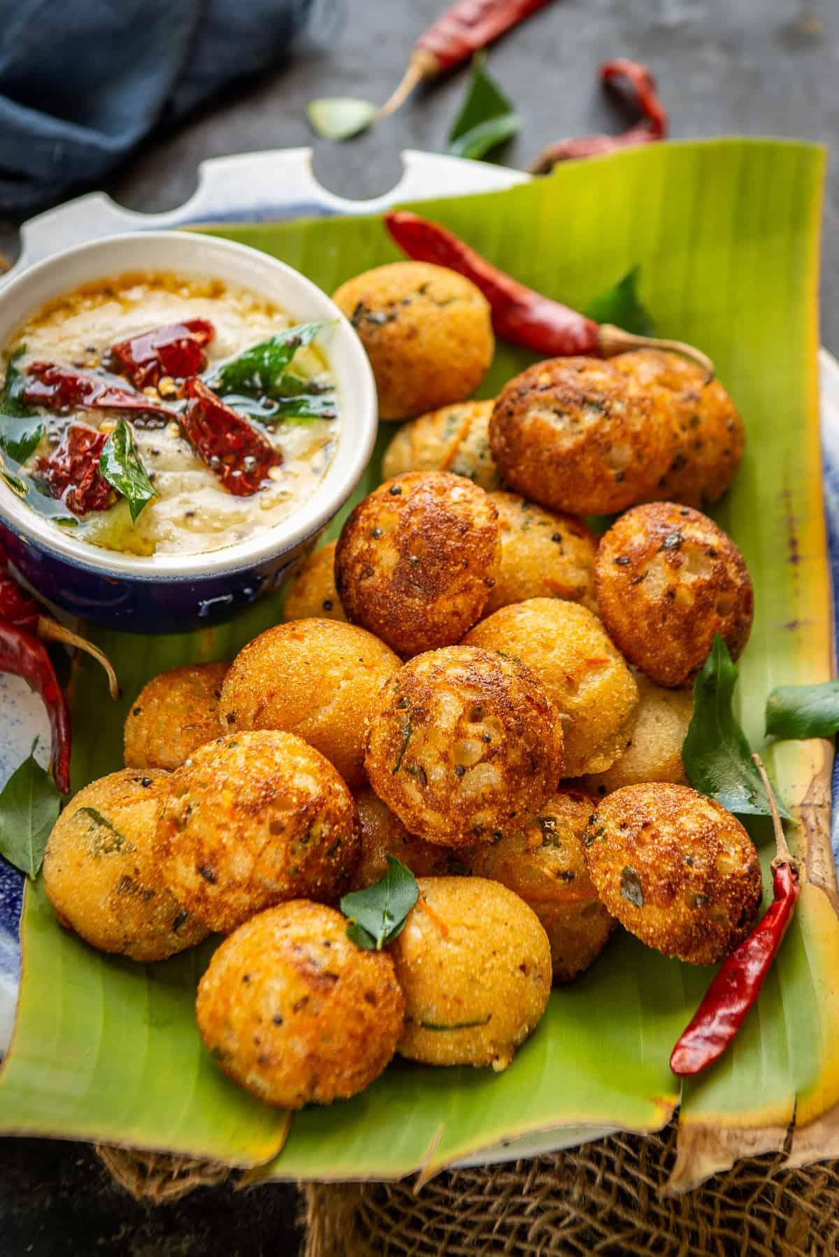 Rava Appe or Rava Paniyaram served on a plate.