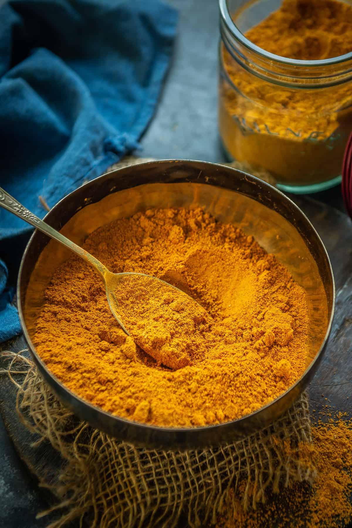 Sambar Powder kept in a bowl.
