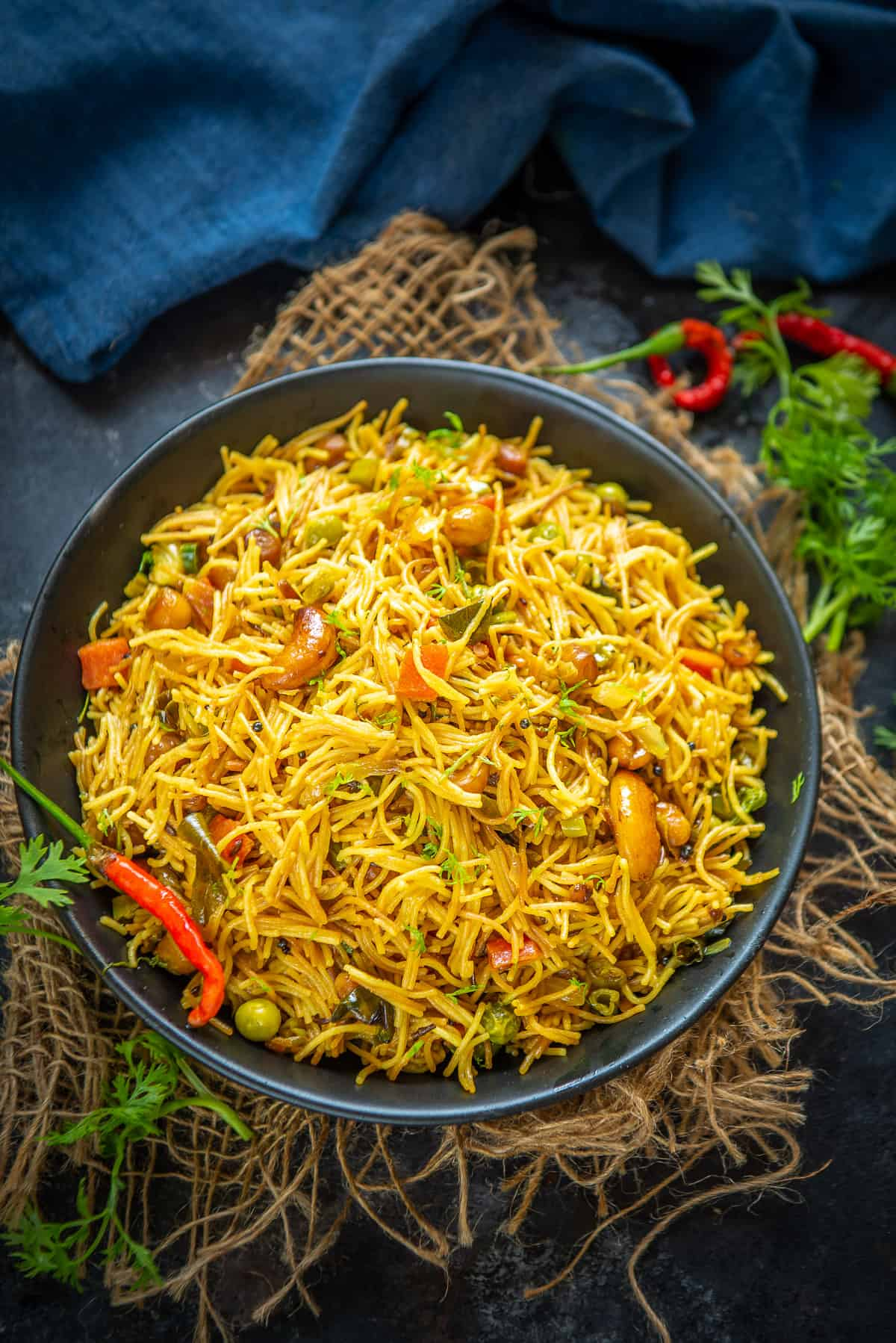Semiya upma served in a bowl.
