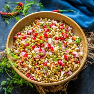 Sprout Salad is a healthy Indian salad where crunchy sprouts are mixed with other fresh ingredients and spiced up with lemon juice and chaat masala. Here is how to make it.