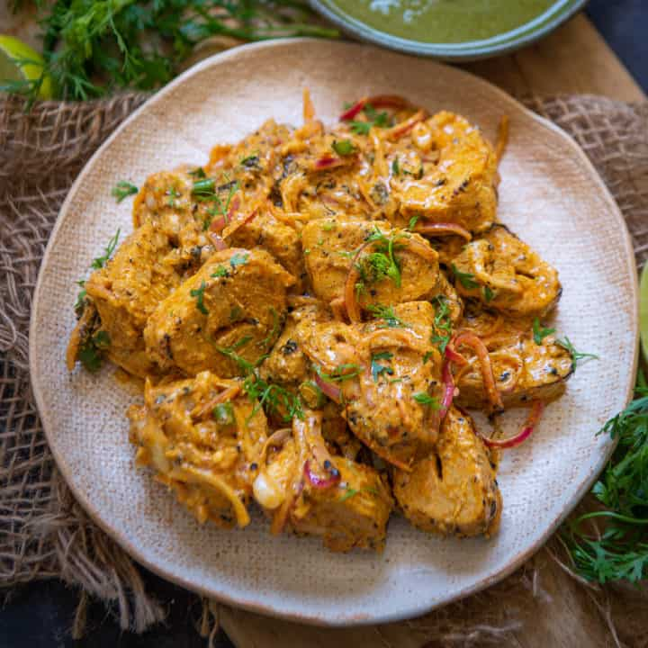 Tandoori Soya Chaap is a delicious vegetarian snack which can be easily made at home. Here is the recipe.