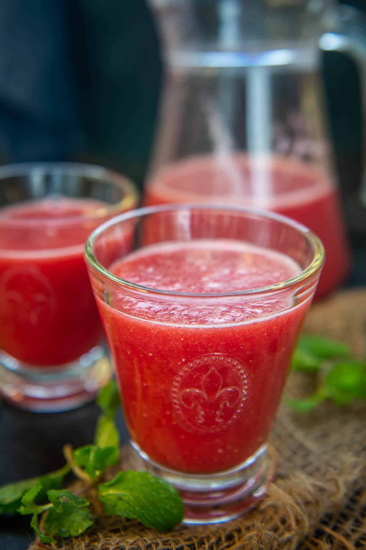Watermelon Juice served in a glass.