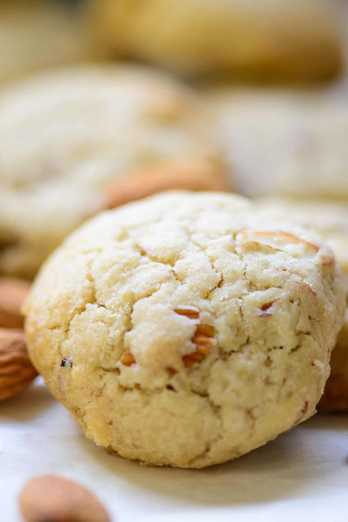 Close up shot of almond cookies.