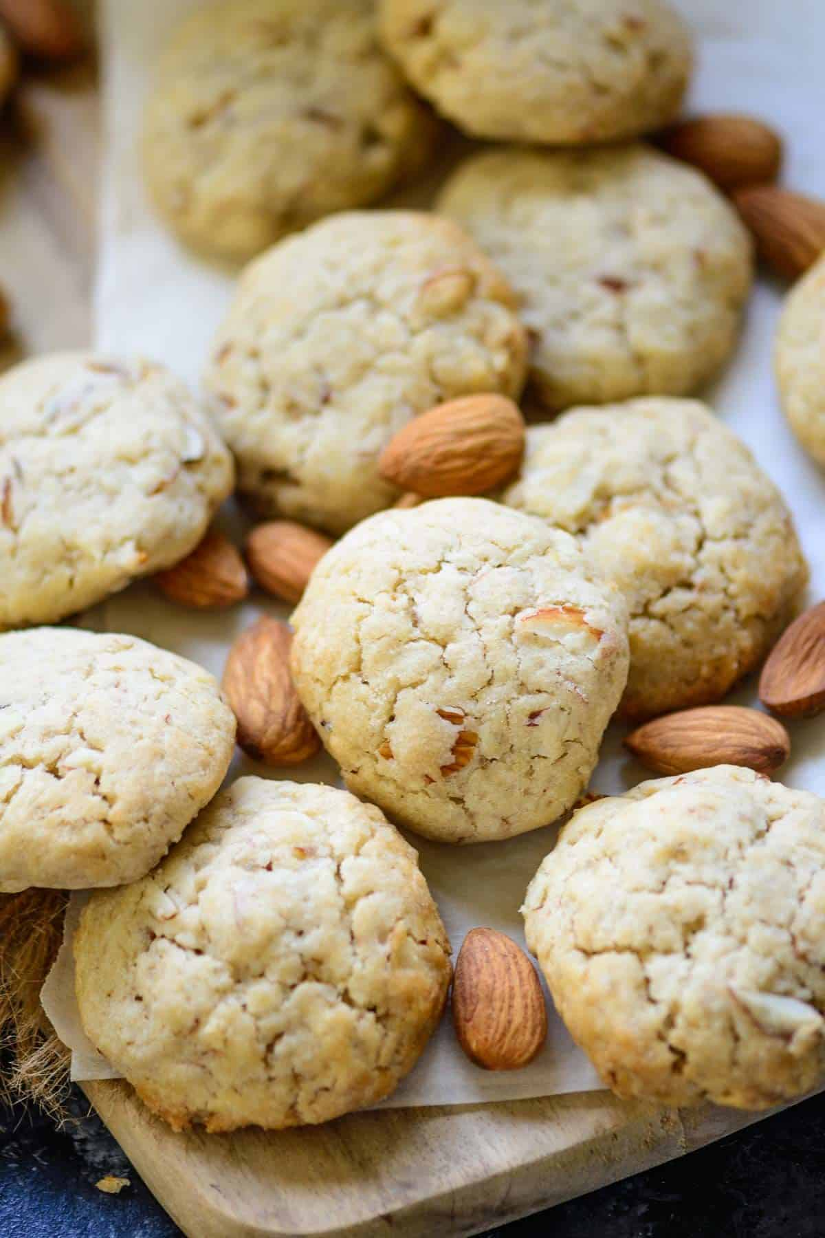 Almond Cookies served on a platter.