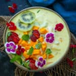 Mixed Fruit Custard is an easy and simple to make Indian dessert. Make it from scratch or use store bought custard powder to make it. Here is the recipe.