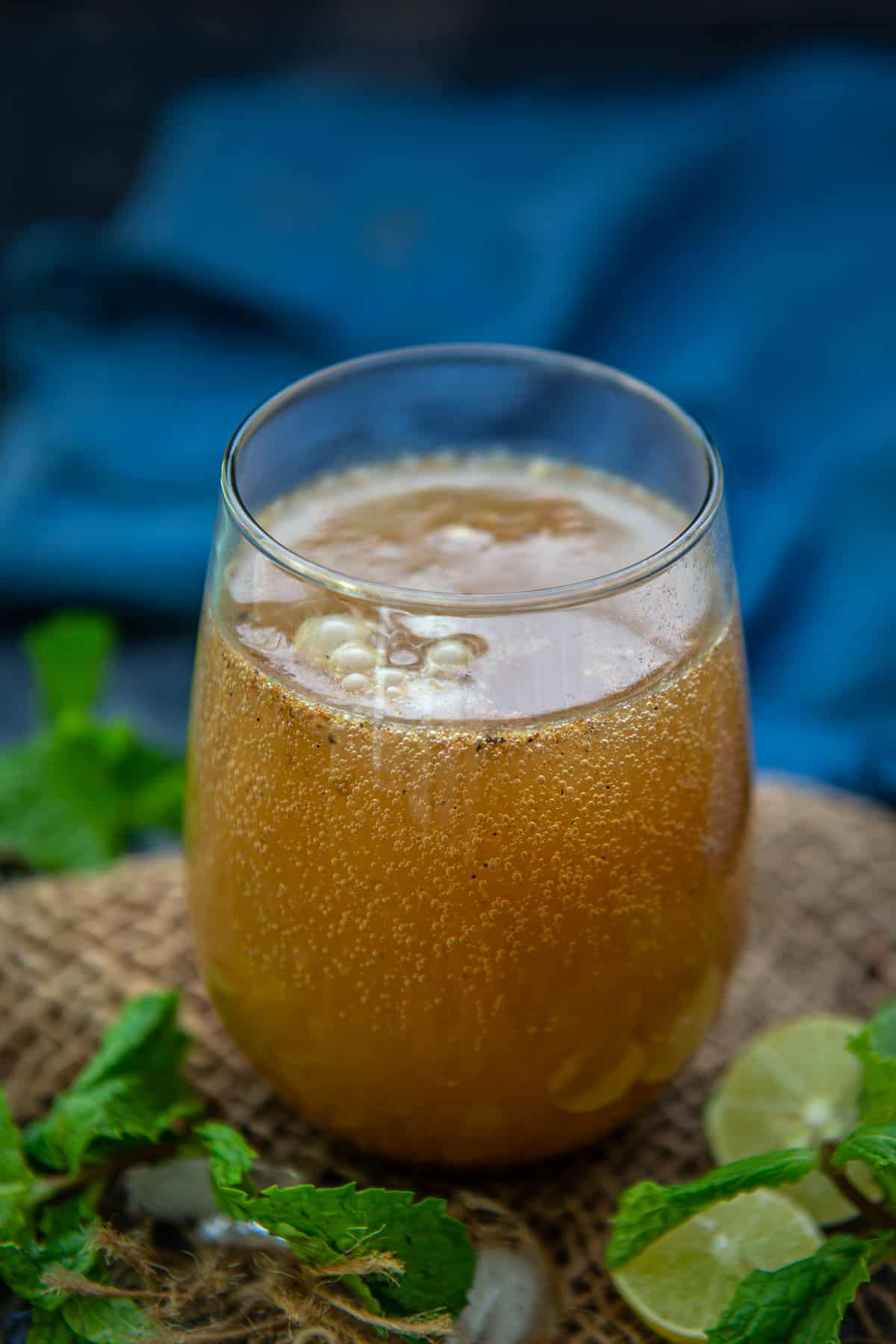 Jeera Soda served in a glass.
