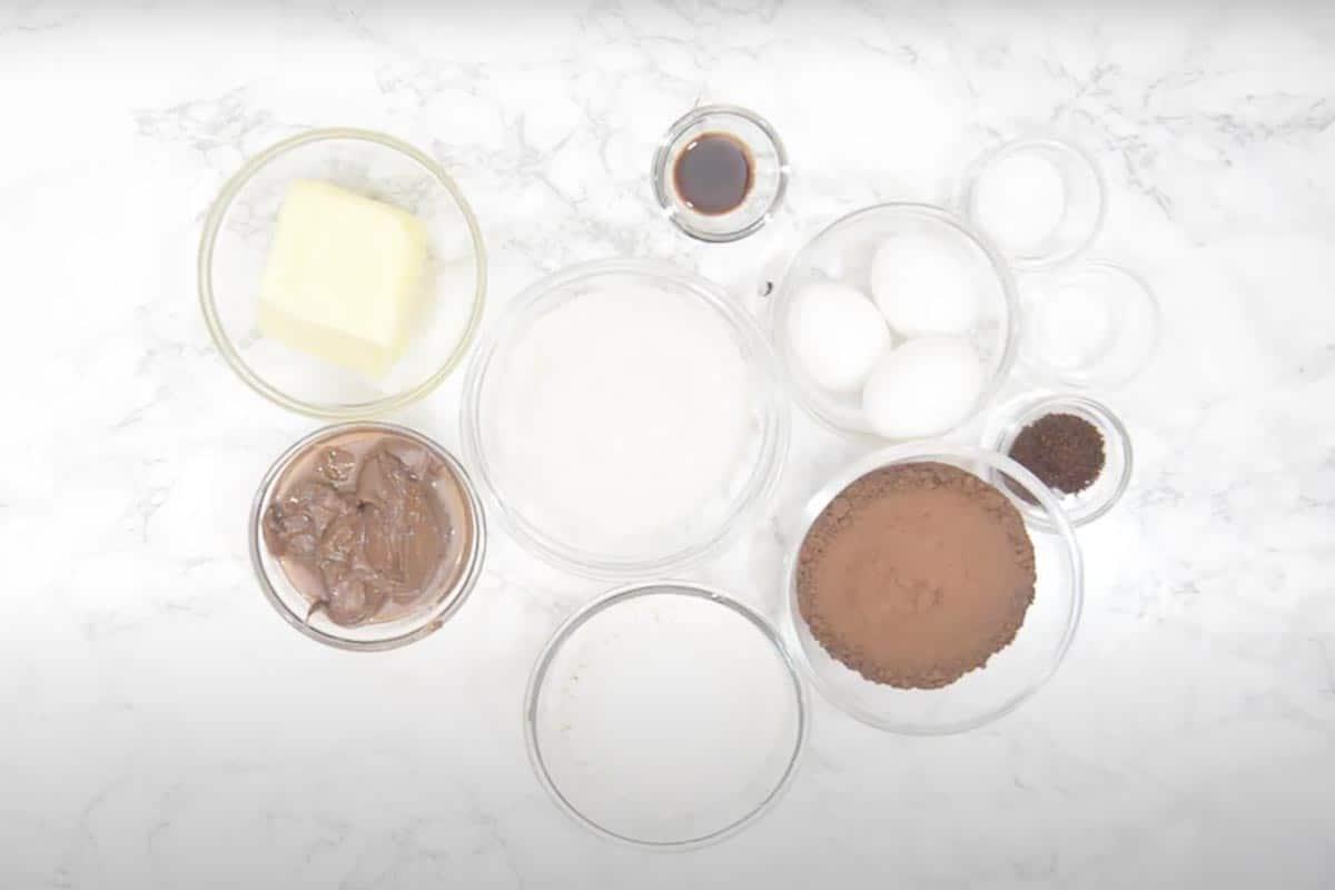 Nutella Brownies Ingredients.